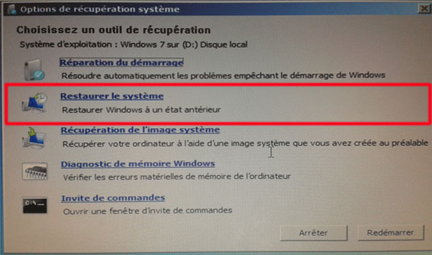 réparer l ordinateur windows 7